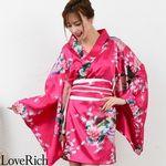 <Love Rich>サテン和柄豪華花魁ミニ着物ドレス 和柄 花魁 キャバドレス (チェリーピンク)(衣装・コスチューム)