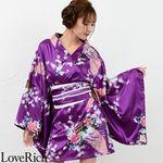<Love Rich>サテン和柄豪華花魁ミニ着物ドレス 和柄 花魁 キャバドレス (パープル)(衣装・コスチューム)