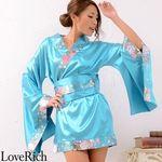 <Love Rich>和柄ミニ着物シンプルデザインドレス 和柄 衣装 花魁 キャバドレス (ブルー)(衣装・コスチューム)