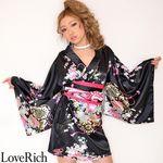 <Love Rich>サテン和柄豪華花魁ミニ着物ドレス コスチューム (黒)(衣装・コスチューム)