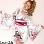 <Love Rich>サテン和柄豪華花魁ミニ着物ドレス コスチューム (白)(衣装・コスチューム)