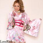 <Love Rich>サテン和柄豪華花魁ミニ着物ドレス コスチューム (ピンク)(衣装・コスチューム)