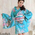 <Love Rich>サテン和柄豪華花魁ミニ着物ドレス コスチューム (ブルー)(衣装・コスチューム)