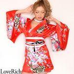 <Love Rich>サテン和柄豪華花魁ミニ着物ドレス コスチューム (赤)(衣装・コスチューム)