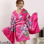 <Love Rich>サテン和柄豪華花魁ミニ着物ドレス コスチューム (チェリーピンク)(衣装・コスチューム)