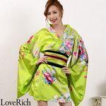 <Love Rich>サテン和柄豪華花魁ミニ着物ドレス コスチューム (イエローグリーン)(衣装・コスチューム)