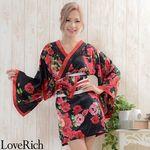 <Love Rich>帯付きバラ花柄サテンミニドレス 和柄 衣装 花魁 キャバドレス (ブラック)(衣装・コスチューム)