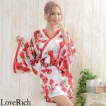 <Love Rich>帯付きバラ花柄サテンミニドレス 和柄 衣装 花魁 キャバドレス (ホワイト)(衣装・コスチューム)