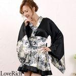 <Love Rich>ペイズリー柄ミニ着物ドレス 和柄 衣装 花魁 キャバドレス (ブラック)(衣装・コスチューム)