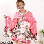 <Love Rich>ペイズリー柄ミニ着物ドレス 和柄 衣装 花魁 キャバドレス (ピンク)(衣装・コスチューム)