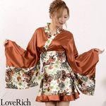 <Love Rich>ペイズリー柄ミニ着物ドレス 和柄 衣装 花魁 キャバドレス (ブラウン)(衣装・コスチューム)