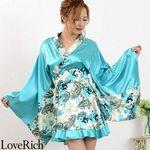 <Love Rich>ペイズリー柄ミニ着物ドレス 和柄 衣装 花魁 キャバドレス (ブルー)(衣装・コスチューム)