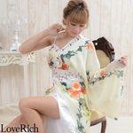 <Love Rich>豪華ビジュー背中リボンシフォンロング着物ドレス 和柄 衣装 花魁 (ホワイト)(衣装・コスチューム)