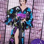 <Love Rich>フラワーロング着物ドレス 和柄 花魁 キャバドレス (パープル)(衣装・コスチューム)