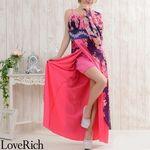 <Love Rich>豪華ビジューロング着物ドレス 和柄 衣装 花魁 (ネイビーピンク)(衣装・コスチューム)
