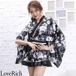 <Love Rich>サテン花柄フリル花魁ミニ着物ドレス 和柄 花魁 キャバドレス (ブラック)(衣装・コスチューム)