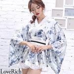<Love Rich>サテン花柄フリル花魁ミニ着物ドレス 和柄 花魁 キャバドレス (ホワイト)(衣装・コスチューム)