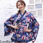 <Love Rich>サテン花柄フリル花魁ミニ着物ドレス 和柄 花魁 キャバドレス (ネイビー)(衣装・コスチューム)