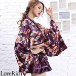 <Love Rich>サテン花柄フリル花魁ミニ着物ドレス 和柄 花魁 キャバドレス (パープル)(衣装・コスチューム)