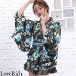 <Love Rich>サテン花柄フリル花魁ミニ着物ドレス 和柄 花魁 キャバドレス (モスグリーン)(衣装・コスチューム)