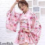 <Love Rich>サテン花柄フリル花魁ミニ着物ドレス 和柄 花魁 キャバドレス (ピンク)(衣装・コスチューム)