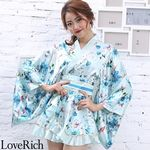 <Love Rich>サテン花柄フリル花魁ミニ着物ドレス 和柄 花魁 キャバドレス (ライトブルー)(衣装・コスチューム)