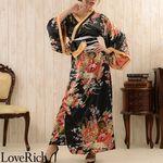 <Love Rich>花魁風帯付き和柄サテンロングドレス (黒)(衣装・コスチューム)
