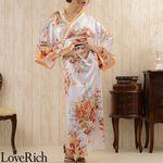 <Love Rich>花魁風帯付き和柄サテンロングドレス (白)(衣装・コスチューム)
