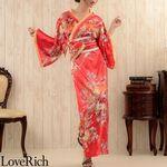 <Love Rich>花魁風帯付き和柄サテンロングドレス (赤)(衣装・コスチューム)