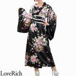 <Love Rich>帯付き花魁シリーズ☆和柄サテン着物ロングドレス (黒)(衣装・コスチューム)