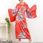 <Love Rich>帯付き花魁シリーズ☆和柄サテン着物ロングドレス (赤)(衣装・コスチューム)