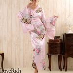 <Love Rich>帯付き花魁シリーズ☆和柄サテン着物ロングドレス (ピンク)(衣装・コスチューム)