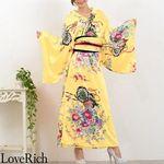 <Love Rich>帯付き花魁シリーズ☆和柄サテン着物ロングドレス (イエロー)(衣装・コスチューム)