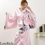 <Love Rich>和柄ロング着物ドレス 和柄 衣装 花魁 キャバドレス (ピンク)(衣装・コスチューム)