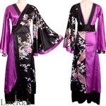 <Love Rich>ツートンカラー孔雀和柄ロング着物ドレス 衣装 花魁 キャバドレス (ブラックパープル)(衣装・コスチューム)