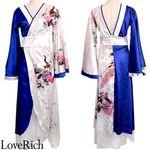 <Love Rich>ツートンカラー孔雀和柄ロング着物ドレス 衣装 花魁 キャバドレス (ホワイトロイヤルブルー)(衣装・コスチューム)