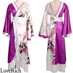 <Love Rich>ツートンカラー孔雀和柄ロング着物ドレス 衣装 花魁 キャバドレス (ホワイトパープル)(衣装・コスチューム)