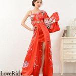 <Love Rich>豪華ビジューサテン和柄ワンショルロング着物ドレス 花魁 キャバドレス (レッド)(衣装・コスチューム)