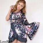 <Love Rich>バタフライブローチ付きワンショルミニ花魁着物ドレス (黒)(衣装・コスチューム)