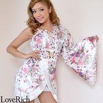 <Love Rich>バタフライブローチ付きワンショルミニ花魁着物ドレス (白)(衣装・コスチューム)