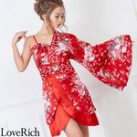 <Love Rich>バタフライブローチ付きワンショルミニ花魁着物ドレス (赤)(衣装・コスチューム)