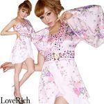 <Love Rich>バタフライブローチ付きワンショルミニ花魁着物ドレス (ピンク)(衣装・コスチューム)