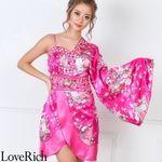 <Love Rich>バタフライブローチ付きワンショルミニ花魁着物ドレス (チェリー)(衣装・コスチューム)