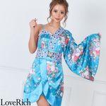 <Love Rich>バタフライブローチ付きワンショルミニ花魁着物ドレス (ブルー)(衣装・コスチューム)