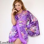 <Love Rich>バタフライブローチ付きワンショルミニ花魁着物ドレス (パープル)(衣装・コスチューム)