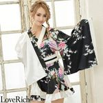 <Love Rich>孔雀柄フリルミニ着物ドレス 和柄 衣装 花魁 キャバドレス (ホワイト)(衣装・コスチューム)