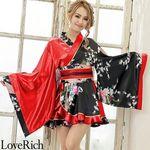 <Love Rich>孔雀柄フリルミニ着物ドレス 和柄 衣装 花魁 キャバドレス (レッド)(衣装・コスチューム)
