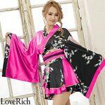 <Love Rich>孔雀柄フリルミニ着物ドレス 和柄 衣装 花魁 キャバドレス (チェリーピンク)(衣装・コスチューム)