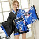 <Love Rich>孔雀柄フリルミニ着物ドレス 和柄 衣装 花魁 キャバドレス (ロイヤルブルーブラック)(衣装・コスチューム)