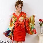 <Love Rich>リボン付きサテン&ストレッチギャザーミニ花魁着物ドレス衣装 よさこい(レッド)(衣装・コスチューム)